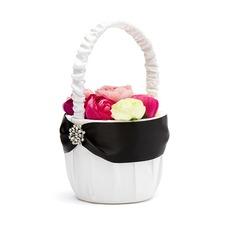 Classic Flower Basket in Satin With Rhinestones