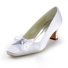 Satin Chunky Heel Closed Toe Pumps Wedding Shoes With Bowknot Rhinestone (047011892)