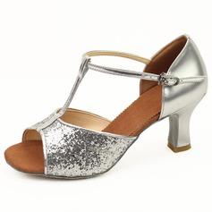 Kvinnor Konstläder Glittrande Glitter Klackar Sandaler Latin med T-Rem Spänne Dansskor