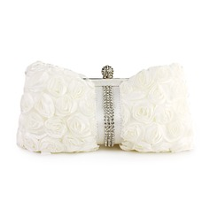Ivory Gorgeous Silk With Austria Rhinestones Party Clutches (012006680)