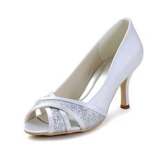Women's Satin Cone Heel Peep Toe Sandals With Sparkling Glitter