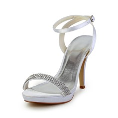 Women's Satin Cone Heel Platform Sandals Slingbacks With Rhinestone