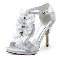 Satin Stiletto Heel Platform Pumps Sandals Wedding Shoes With Bowknot Rhinestone (047011808)