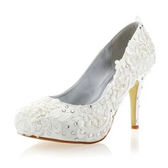 Women's Lace Silk Like Satin Stiletto Heel Closed Toe Pumps With Rhinestone Flower