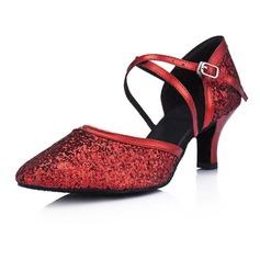 De mujer Cuero Brillo Chispeante Tacones Salón Moderno Sala de Baile Zapatos de danza