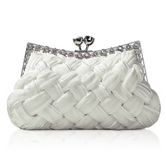 Ivory Gorgeous Backfin Satin Shell With Rhinestone Evening Bag Handbag Purse Clutch (012005564)