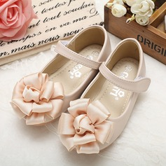 Girl's Real Leather Round Toe Closed Toe Mary Jane Flats With Flower
