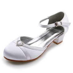 Satin Low Heel Closed Toe Flats Wedding Shoes With Buckle Rhinestone (047011837)