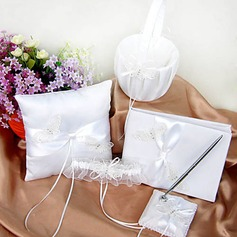 Wedding Collection Set in Ivory Satin With Butterfly Embroidery (5 Pieces)(100018000)