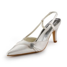 Women's Satin Stiletto Heel Closed Toe Pumps Slingbacks