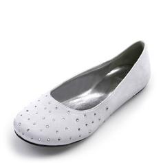 Frauen Satiniert Flascher Absatz Geschlossene Zehe Flache Schuhe mit Straß