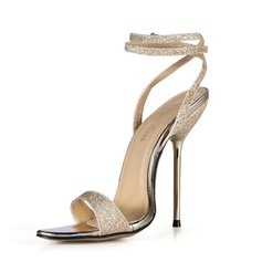 Women's Sparkling Glitter Stiletto Heel Sandals Slingbacks With Buckle shoes