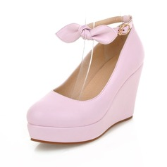 Leatherette Wedge Heel Platform Closed Toe Wedges With Bowknot Buckle shoes