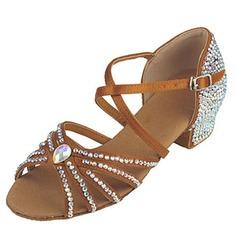 De mujer Niños Satén Tacones Sandalias Danza latina con Rhinestone Tira de tobillo Zapatos de danza
