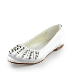 Satin Flat Heel Closed Toe Flats Wedding Shoes With Beading Imitation Pearl (047014155)