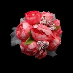Fascinant Rond Satin/Papier Bouquets de Demoiselle D'honneur