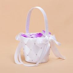 Nizza Flower Basket sisään Satiini jossa Nauhat & Faux Helmi