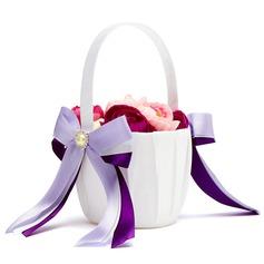 Elegante Cesto di fiori in Raso con Nastri & Perla Finto