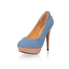 Canvas Stiletto Heel Platform Pumps With Zipper (085025203)