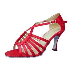 Women's Satin Heels Sandals Latin Ballroom Dance Shoes