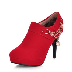 Women's Suede Stiletto Heel Pumps Ankle Boots With Chain shoes