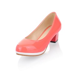 Patent Leather Chunky Heel Platform Pumps (085025192)