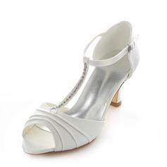 Women's Satin Spool Heel Peep Toe Pumps With Rhinestone