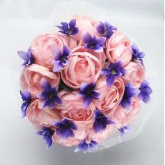 Pretty Round Satin/Cotton Bridal Bouquets