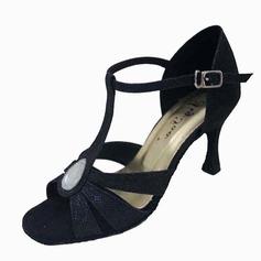 De mujer Brillo Chispeante Tacones Danza latina con Rhinestone Tira de tobillo Hebilla Zapatos de danza