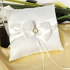 Wedding Ring Pillow In Ivory Satin With Faux Pearl Accent(103018253)