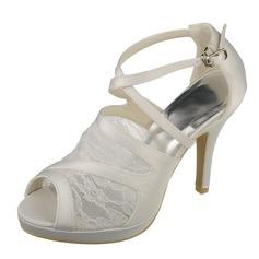 Women's Lace Satin Stiletto Heel Peep Toe Pumps Sandals