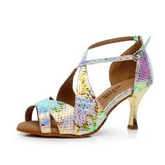 Donna Similpelle Tacchi Sandalo Stiletto Latino con Fibbia Scarpe da ballo