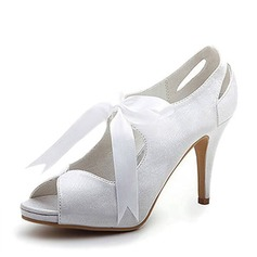 Satin Stiletto Heel Peep Toe Platform Pumps Wedding Shoes With Ribbon Tie (047005035)