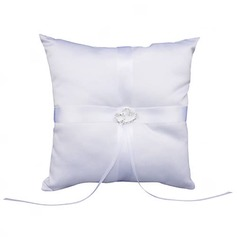 Wedding Ring Pillow In White Smooth Satiin With Double Hearts Rhinestone(103018267)