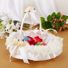 Tyylikäs Flower Basket sisään Satiini & Pitsi jossa Keula