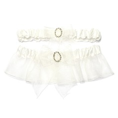 Elegant Satin Organza With Rhinestone Wedding Garters