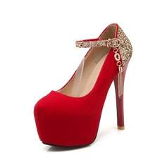 Mulheres Camurça Salto agulha Bombas Plataforma com Espumante Glitter Franja sapatos