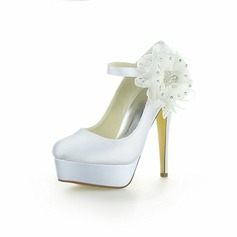 Women's Satin Cone Heel Platform Pumps With Rhinestone Flower