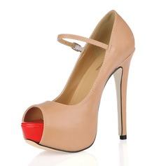 Leatherette Stiletto Heel Sandals Platform Peep Toe With Buckle shoes