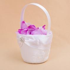 Kaunis Flower Basket sisään Satiini jossa Kirjonta