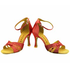 De mujer Brillo Chispeante Tacones Sandalias Danza latina Salsa Fiesta con Tira de tobillo Agujereado Zapatos de danza