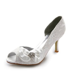 Satin Stiletto Heel Peep Toe Pumps Wedding Shoes With Bowknot Rhinestone (047005038)