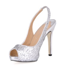 Women's Sparkling Glitter Stiletto Heel Peep Toe Sandals Slingbacks With Sequin