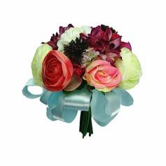 Pretty Hand-tied/Round Satin Bridesmaid Bouquets