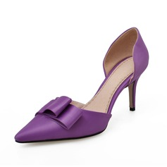 Satin Stiletto Heel Pumps Closed Toe With Bowknot shoes