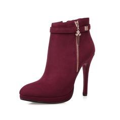 Frauen Wildleder Stöckel Absatz Absatzschuhe Geschlossene Zehe Stiefelette mit Reißverschluss Schuhe