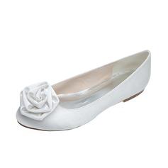 Women's Satin Flat Heel Closed Toe Flats With Flower