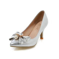 Women's Leatherette Stiletto Heel Pumps Closed Toe With Bowknot Imitation Pearl shoes