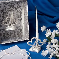 Double Hearts Wedding Pen Set In Resin (101020363)