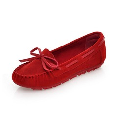 Real Leather Flat Heel Flats Closed Toe With Bowknot shoes